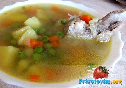 Гороховый суп с зеленым горошком