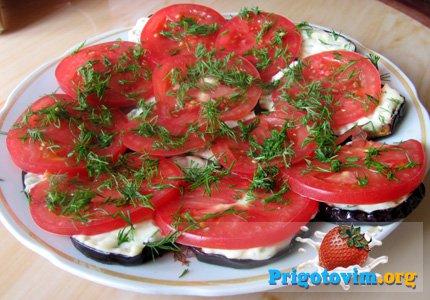 баклажаны с помидорами закуска